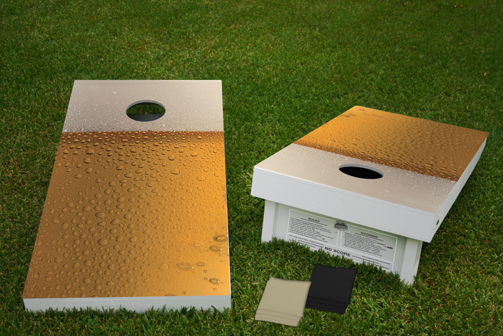 Buzzed on Suds Regulation Wooden Cornhole Bean Bag Toss Tailgate Game 24x48 with 8 Official 16oz Bags
