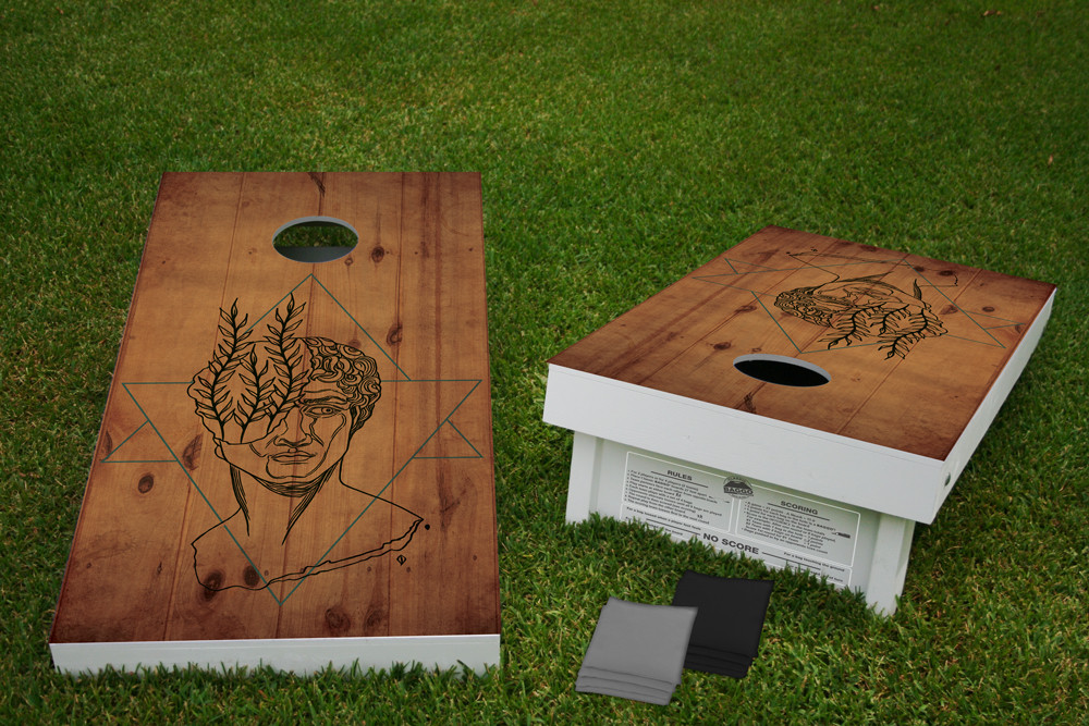 Greek Statue Regulation Wooden Cornhole Bean Bag Toss Tailgate Game 24x48 with 8 Official 16oz Bags