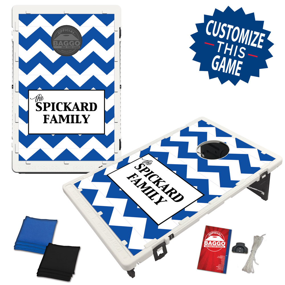Chevron Middle Block 3 Line Text With Custom Colors Bag Toss/Cornhole Game by BAGGO
