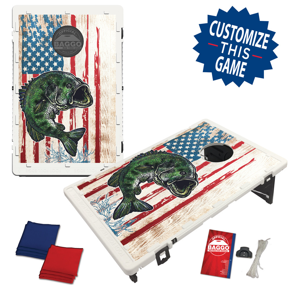American Flag Bass Bean Bag Toss Game by BAGGO