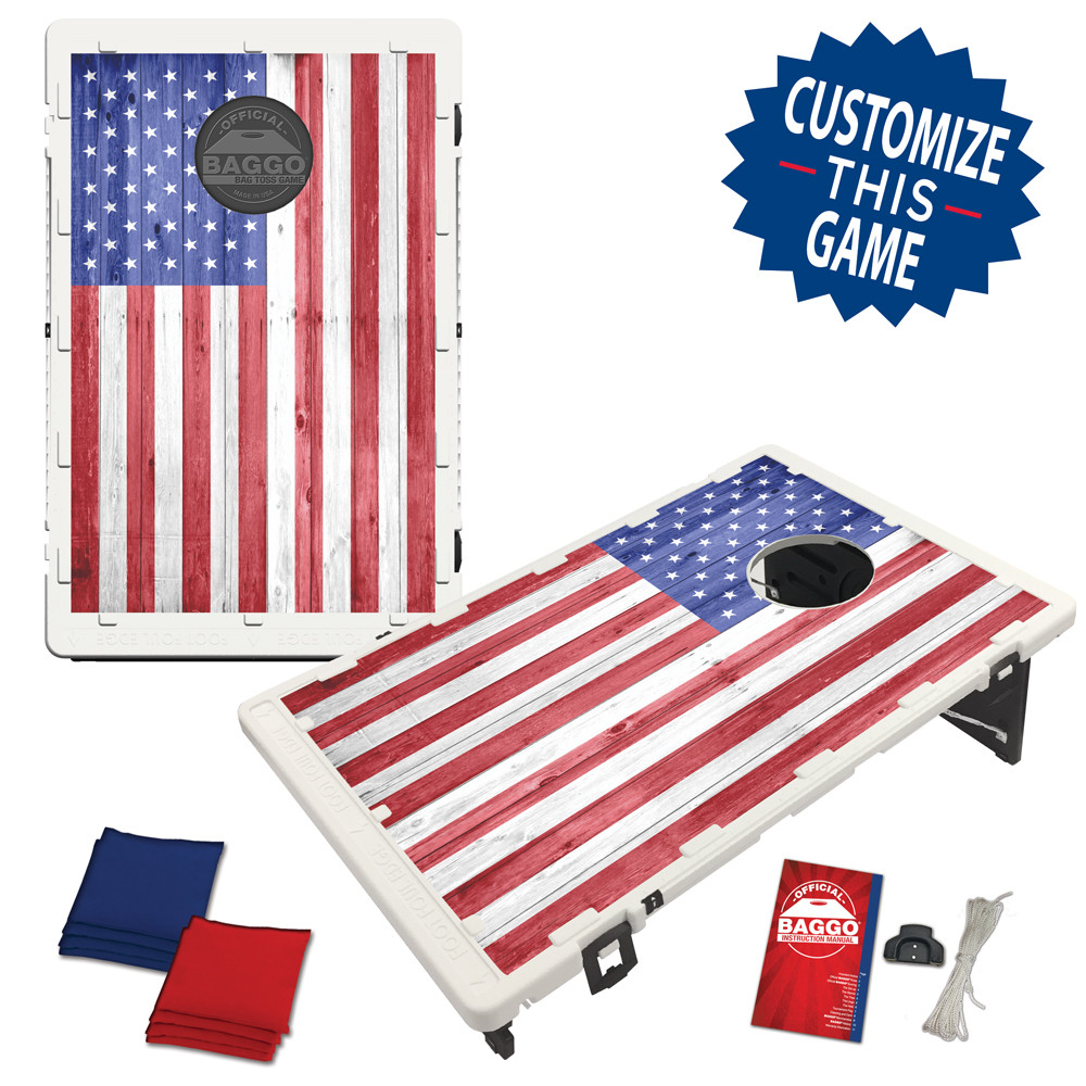American USA Wood Texture Flag Bag Toss Game by BAGGO