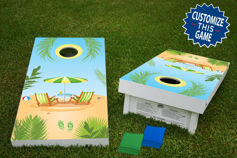 Beach Day Regulation Wooden Cornhole Bean Bag Toss Tailgate Game 24x48 with 8 Official 16oz Bags