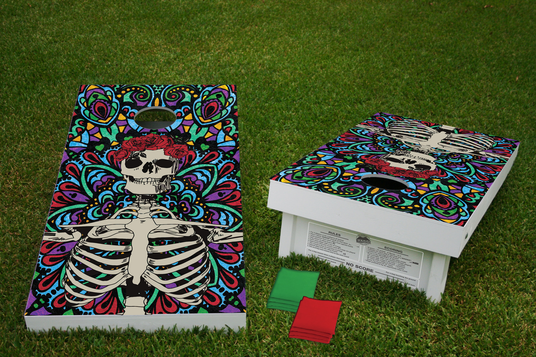 Grateful Skeleton Cornhole Game