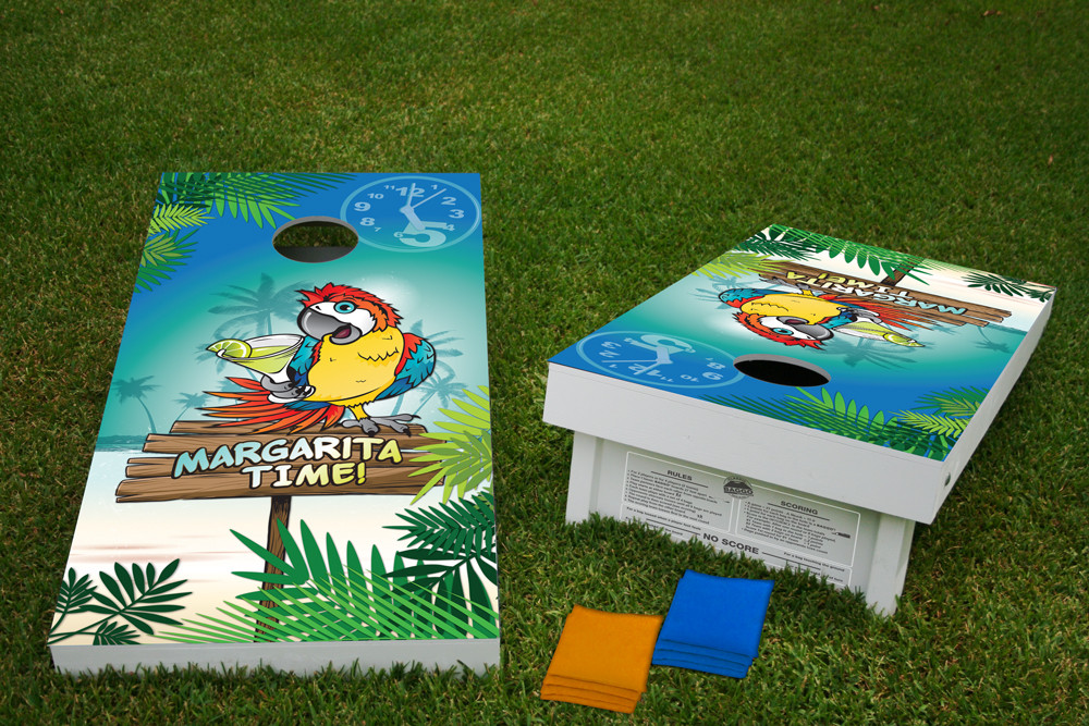 Margarita Time Parrot Regulation Cornhole Wooden Bean Bag Toss Tailgate Game 24x48 with 8 Official 16oz Bags