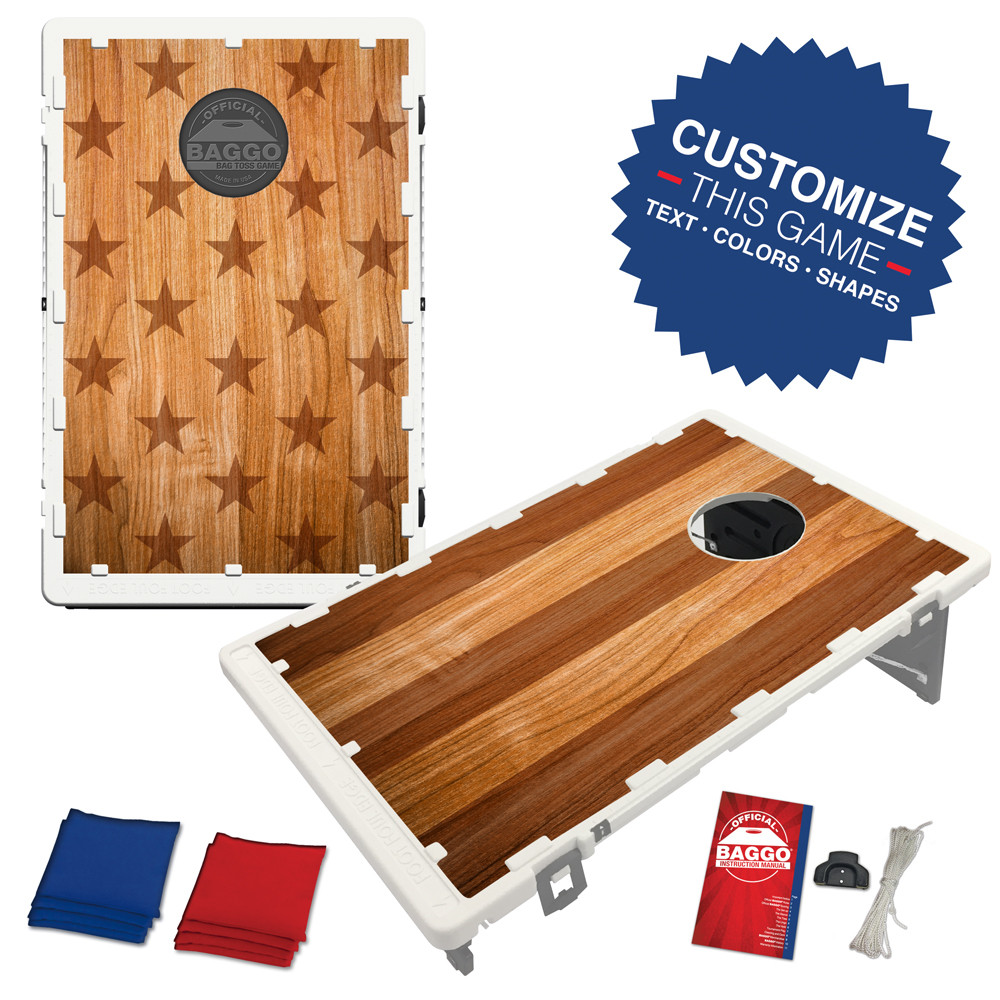 Patriotic Timber Bean Bag Toss Game by BAGGO
