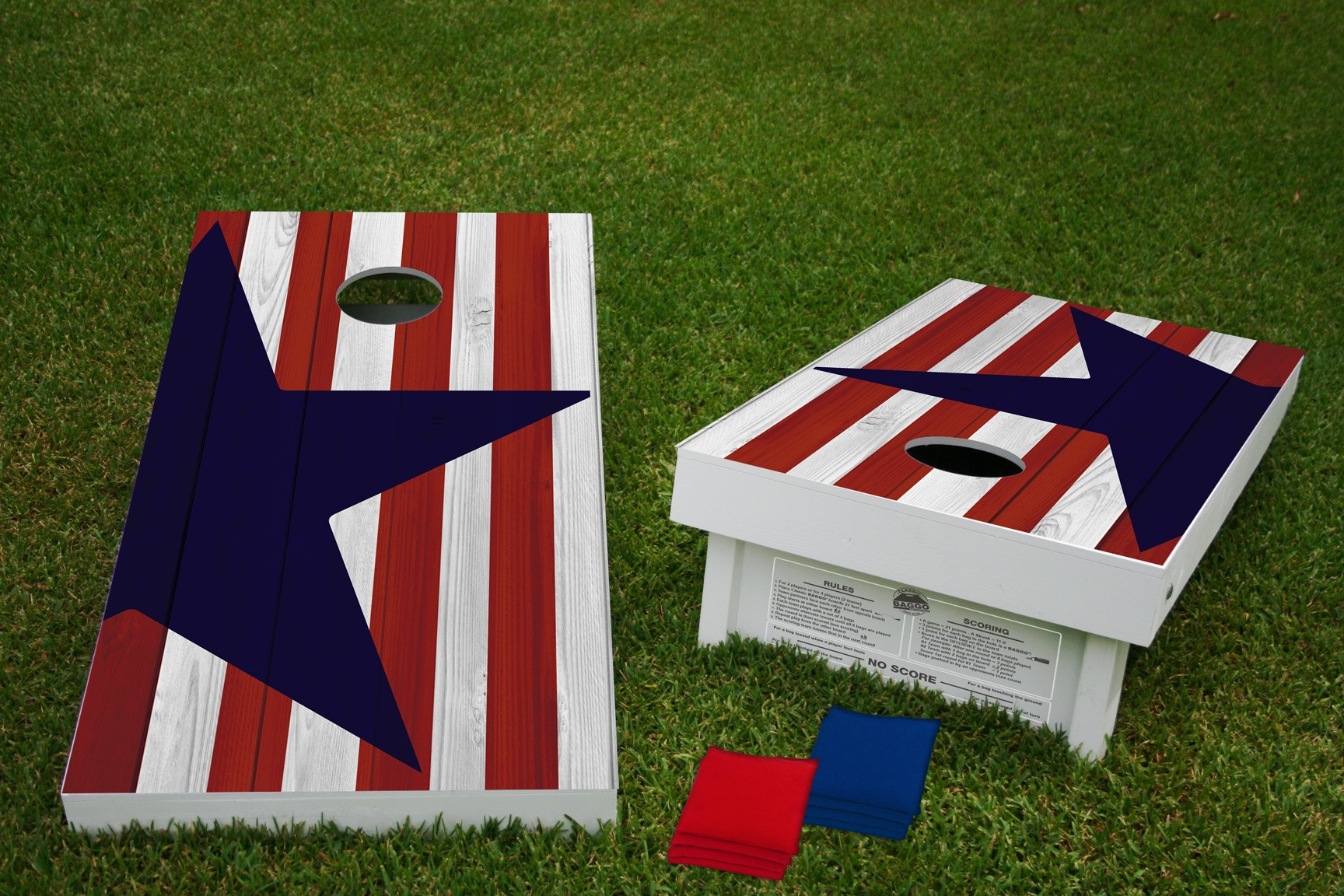 Star and Stripes American Flag Regulation Wooden Cornhole Bean Bag Toss Tailgate Game 24x48 with 8 Official 16oz Bags