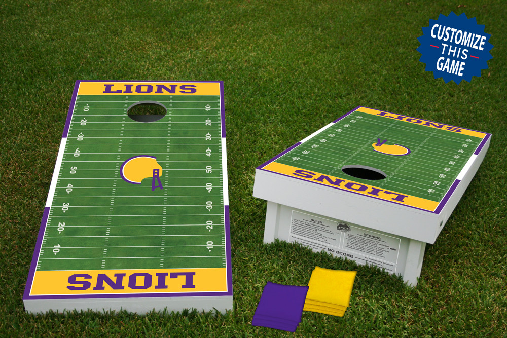 Football Home Field Regulation Wooden Cornhole Bean Bag Toss Tailgate Game 24x48 with 8 Official 16oz Bags