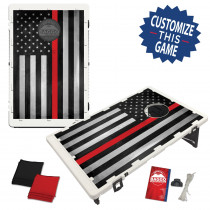 Thin red line baggo portable cornhole setup