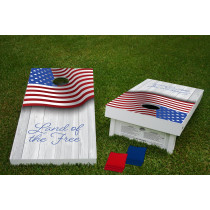 Land of the Free Regulation Wooden Cornhole Bean Bag Toss Tailgate Game 24x48 with 8 Official 16oz Bags