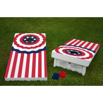 Memorial American Flag Regulation Wooden Cornhole Bean Bag Toss Tailgate Game 24x48 with 8 Official 16oz Bags