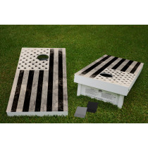 Inverted American Flag Regulation Wooden Cornhole Bean Bag Toss Tailgate Game 24x48 with 8 Official 16oz Bags