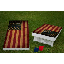 Rough American Flag Regulation Wooden Cornhole Bean Bag Toss Tailgate Game 24x48 with 8 Official 16oz Bags