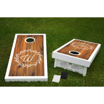 Laurel Initial Regulation Wooden Cornhole Bean Bag Toss Tailgate Game 24x48 with 8 Official 16oz Bags