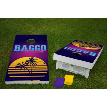 BAGGO Paradise Regulation Wooden Cornhole Bean Bag Toss Tailgate Game 24x48 with 8 Official 16oz Bags
