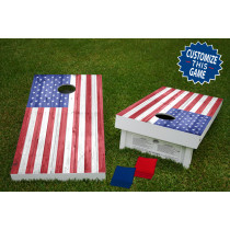 American Flag Wood Texture Official Wooden Cornhole Bean Bag Toss Tailgate Game 24x48 with 8 Official 16oz Bags