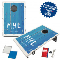 Blue Distressed Fence Design With Custom Letter Bag Toss Game by BAGGO