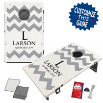 Wedding Chevron Split Pattern 3 Line Text With Custom Colors Bag Toss Game by BAGGO