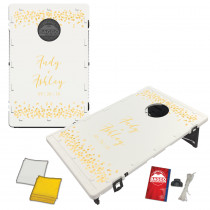 White Glitter Wedding Baggo Bag Toss Game by BAGGO