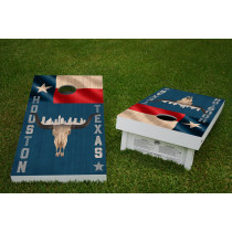 Houston Texas Skull & Flag Skyline Regulation Wooden Cornhole Bean Bag Toss Tailgate Game 24x48 with 8 Official 16oz Bags