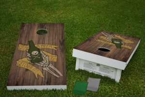 Grab A Beer and Get Over It! Regulation Wooden Cornhole Bean Bag Toss Tailgate Game 24x48 with 8 Official 16oz Bags
