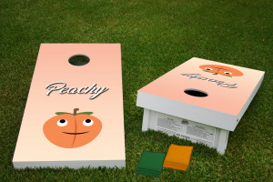 Peachy Regulation Wooden Cornhole Bean Bag Toss Tailgate Game 24x48 with 8 Official 16oz Bags