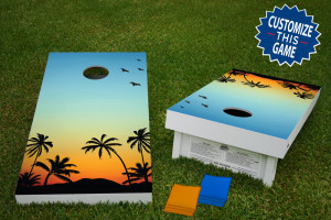 Sunset Palm Trees Regulation Wooden Cornhole Bean Bag Toss Tailgate Game 24x48 with 8 Official 16oz Bags