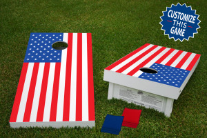 American Flag Official Wooden Cornhole Bean Bag Toss Tailgate Game 24x48 with 8 Official 16oz Bags