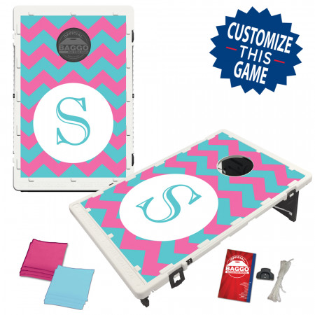 Chevron Pattern Single Letter With Custom Colors Bag Toss Game by BAGGO